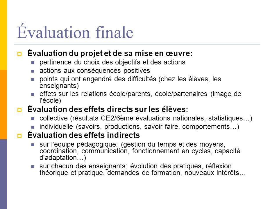 Évaluation finale Évaluation du projet et de sa mise en œuvre: