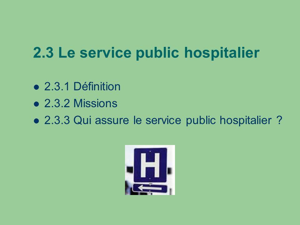 2.3 Le service public hospitalier