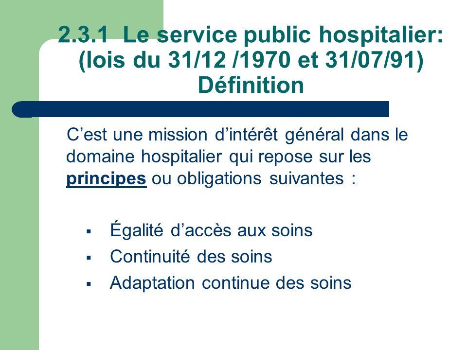 2.3.1 Le service public hospitalier: (lois du 31/12 /1970 et 31/07/91) Définition