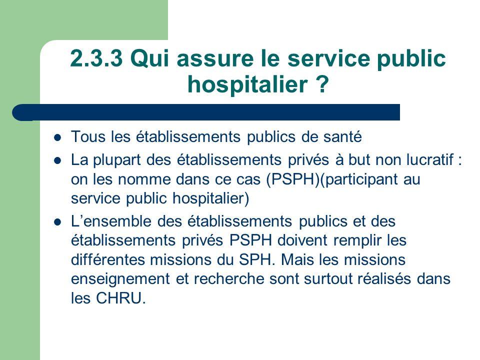2.3.3 Qui assure le service public hospitalier