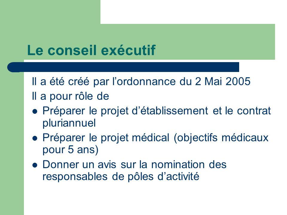 Le conseil exécutif Il a été créé par l'ordonnance du 2 Mai 2005
