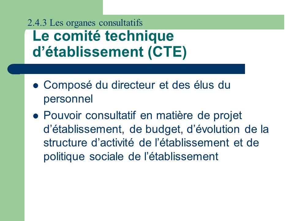 Le comité technique d'établissement (CTE)