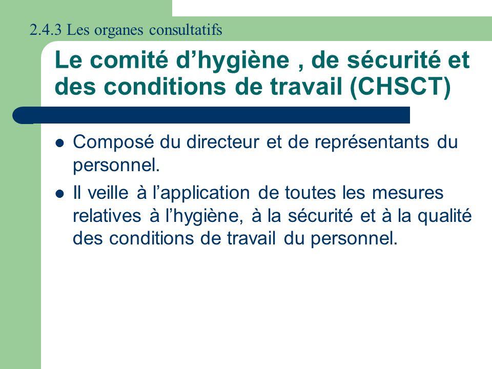Le comité d'hygiène , de sécurité et des conditions de travail (CHSCT)