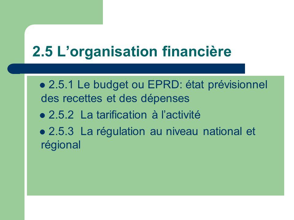 2.5 L'organisation financière