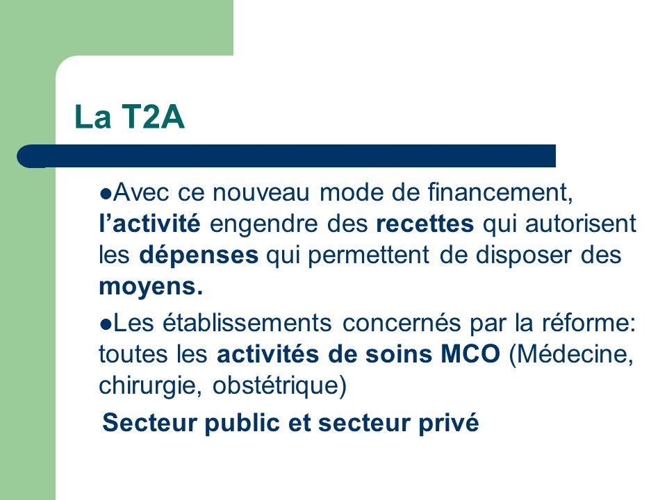 La T2A Avec ce nouveau mode de financement, l'activité engendre des recettes qui autorisent les dépenses qui permettent de disposer des moyens.