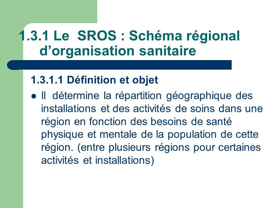 1.3.1 Le SROS : Schéma régional d'organisation sanitaire