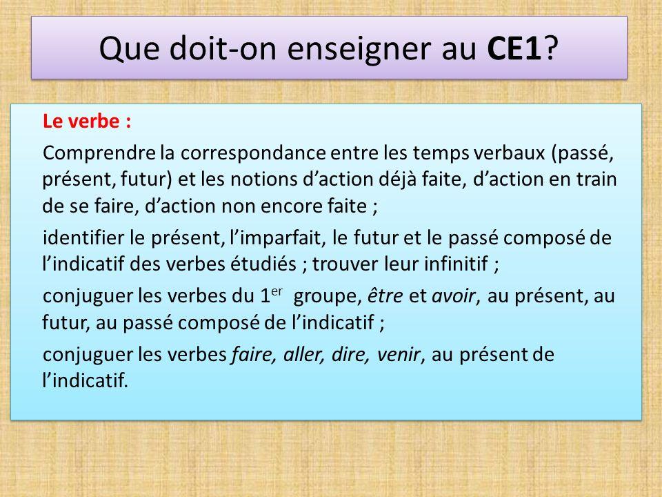 Que doit-on enseigner au CE1