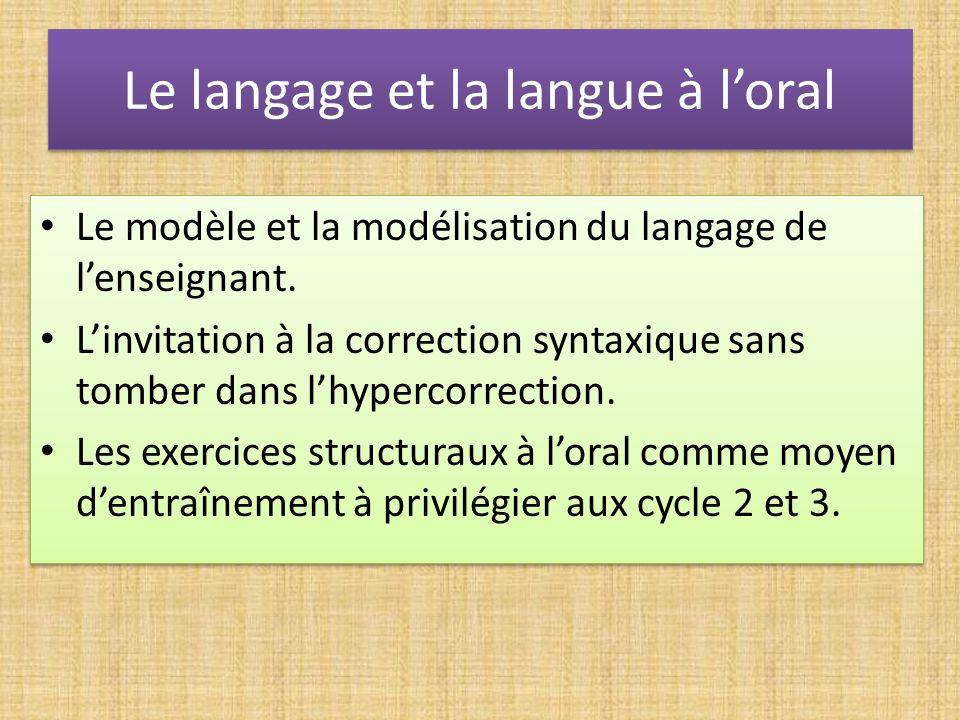 Le langage et la langue à l'oral