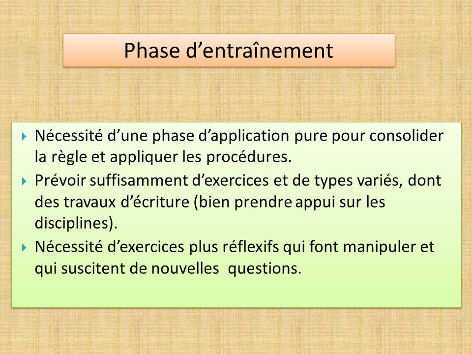 Phase d'entraînement Nécessité d'une phase d'application pure pour consolider la règle et appliquer les procédures.