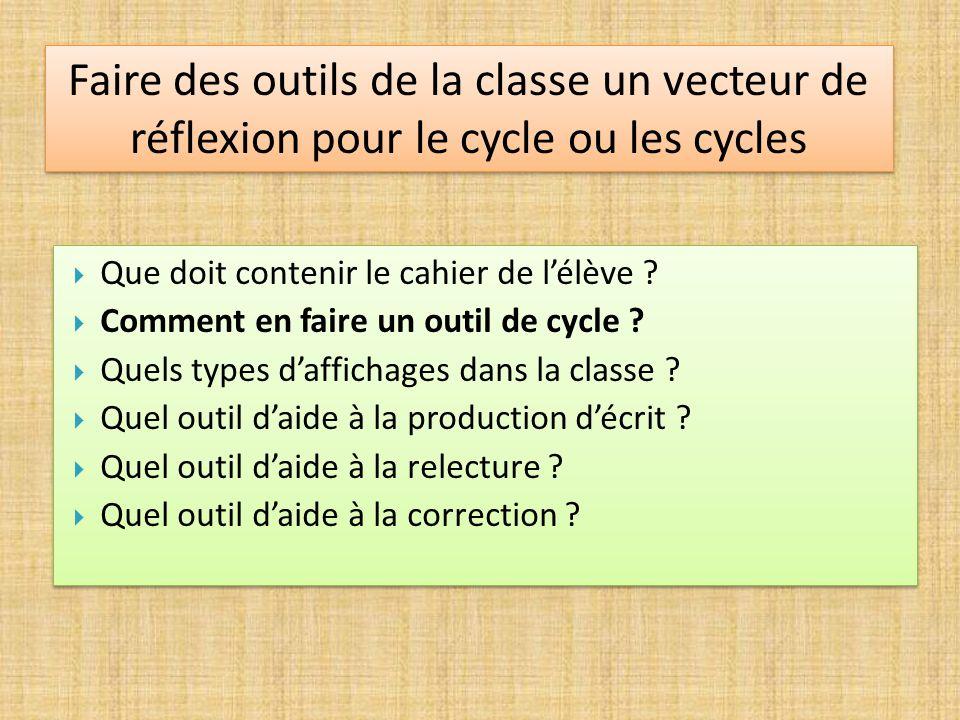 Faire des outils de la classe un vecteur de réflexion pour le cycle ou les cycles