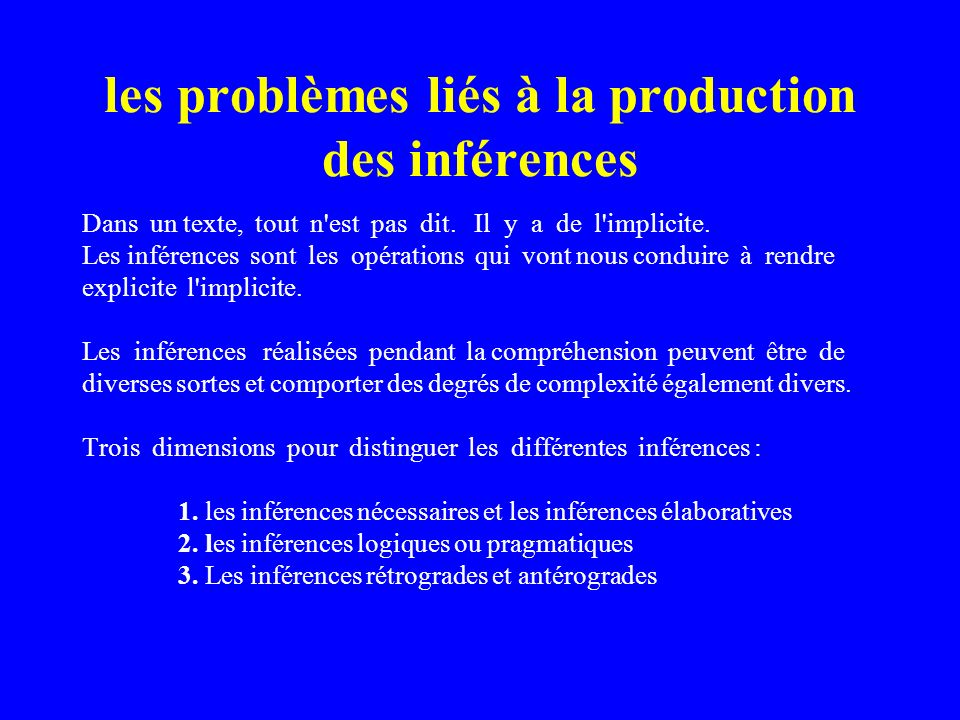 les problèmes liés à la production des inférences