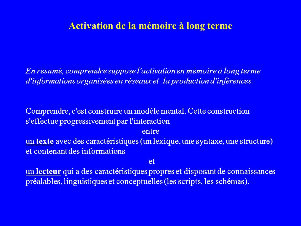 Activation de la mémoire à long terme
