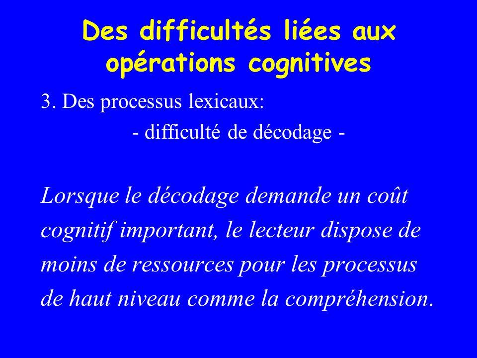 Des difficultés liées aux opérations cognitives