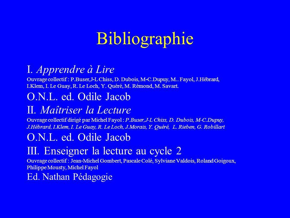 Bibliographie I. Apprendre à Lire O.N.L. ed. Odile Jacob