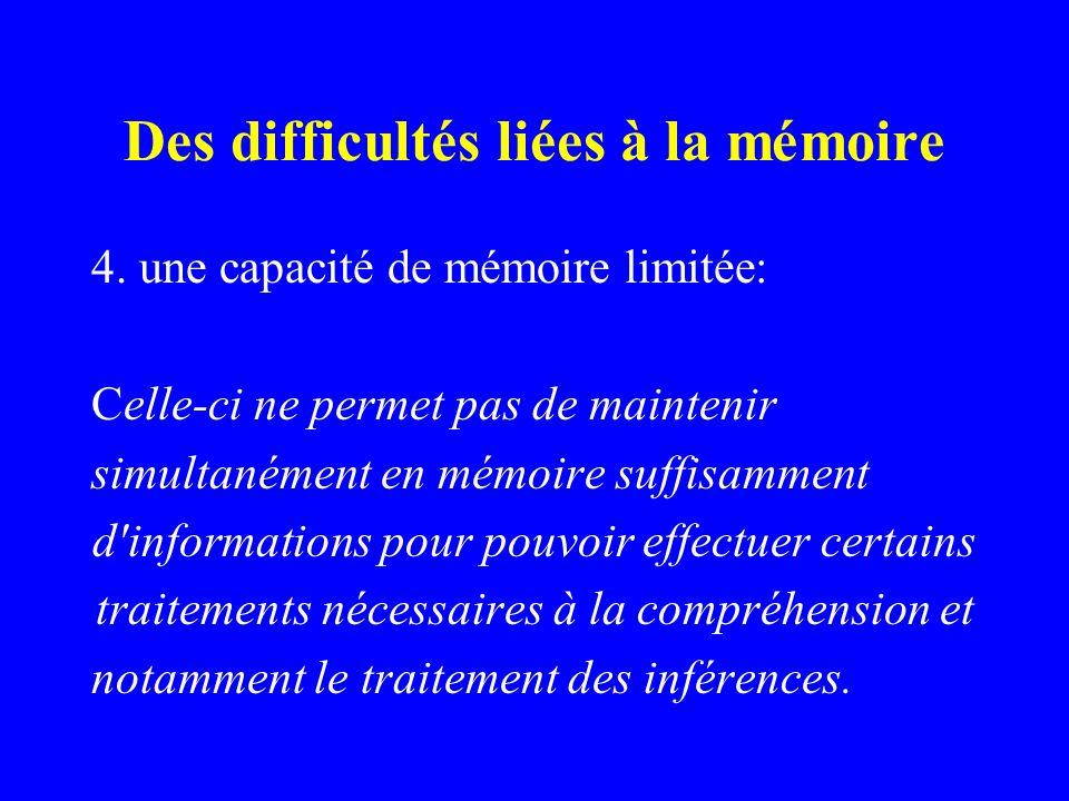Des difficultés liées à la mémoire