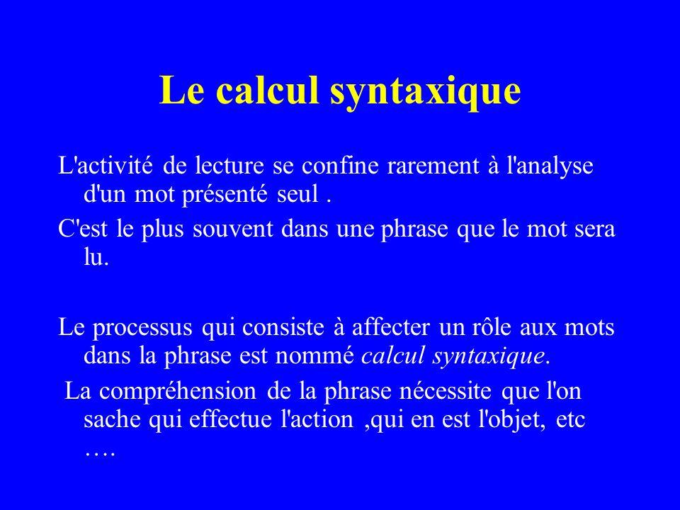 Le calcul syntaxique L activité de lecture se confine rarement à l analyse d un mot présenté seul .