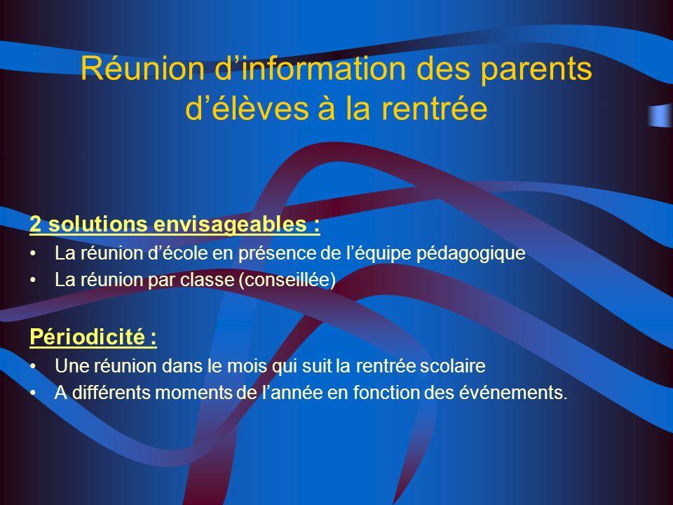 Réunion d'information des parents d'élèves à la rentrée