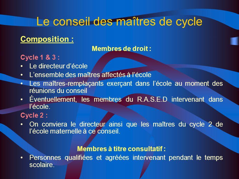 Le conseil des maîtres de cycle