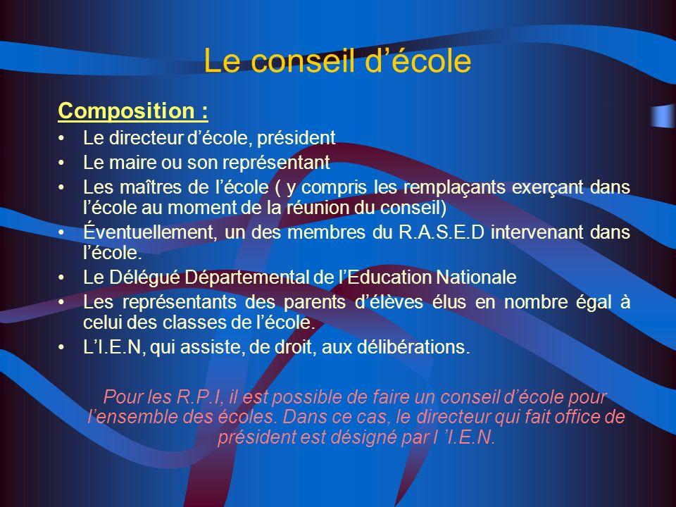 Le conseil d'école Composition : Le directeur d'école, président