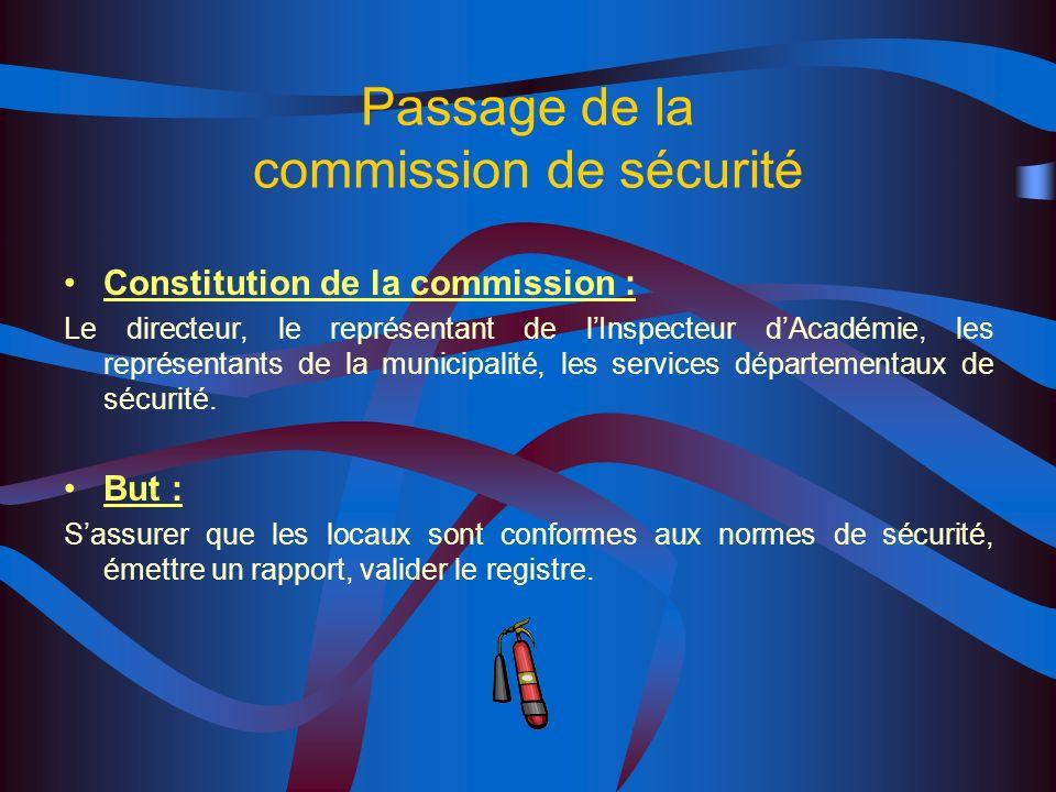 Passage de la commission de sécurité