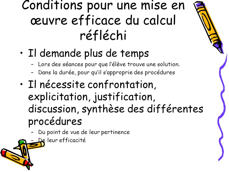 Conditions pour une mise en œuvre efficace du calcul réfléchi