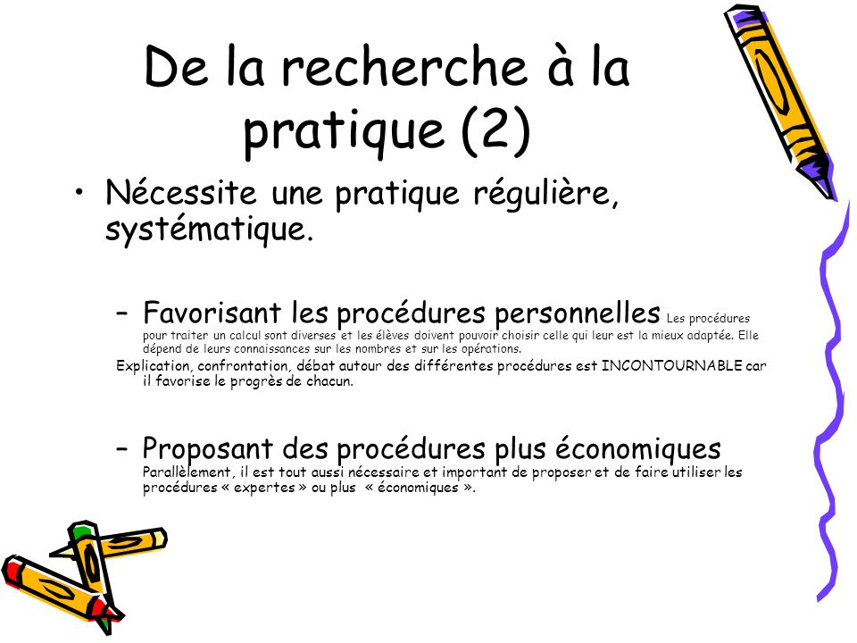 De la recherche à la pratique (2)