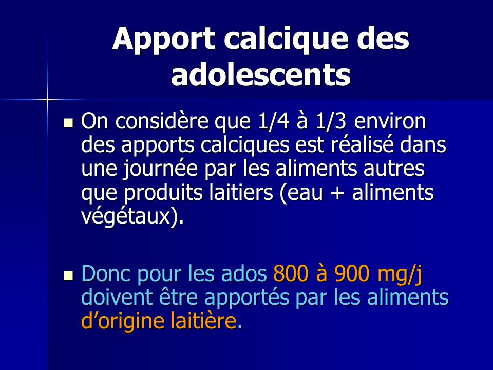 Apport calcique des adolescents
