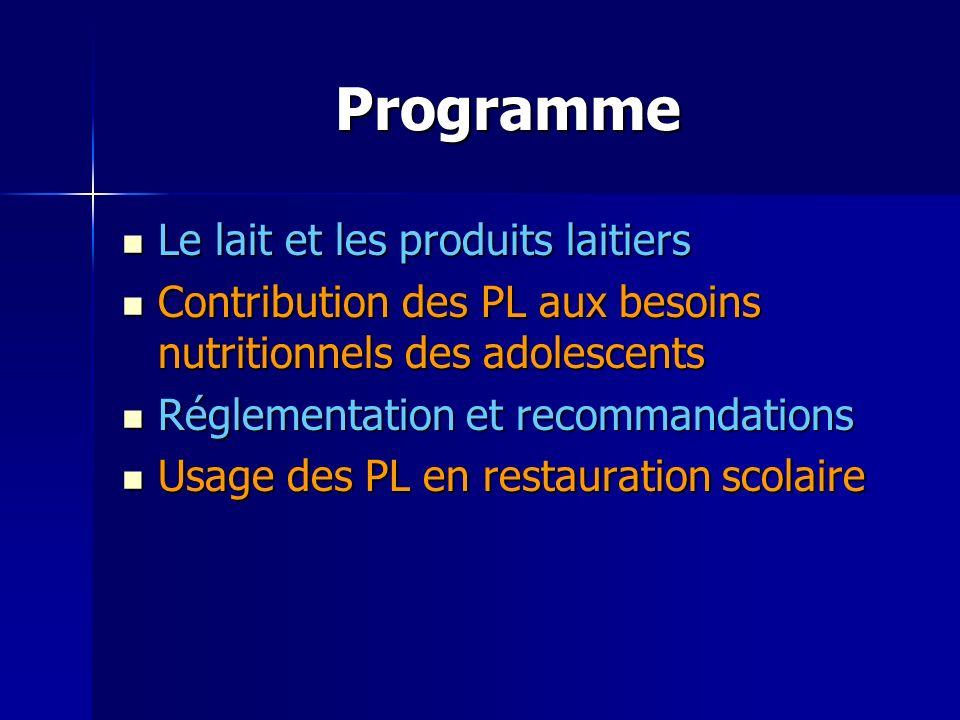 Programme Le lait et les produits laitiers
