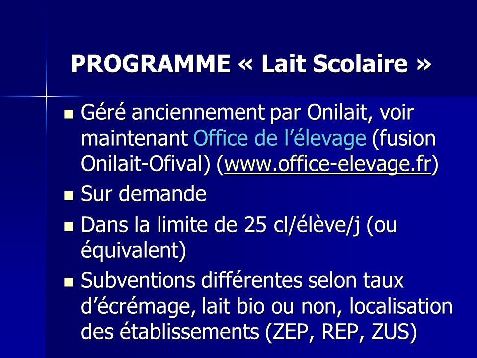 PROGRAMME « Lait Scolaire »