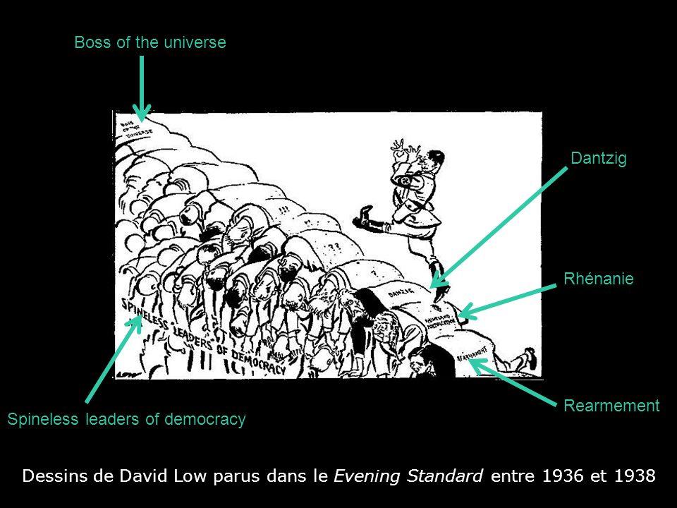 Dessins de David Low parus dans le Evening Standard entre 1936 et 1938