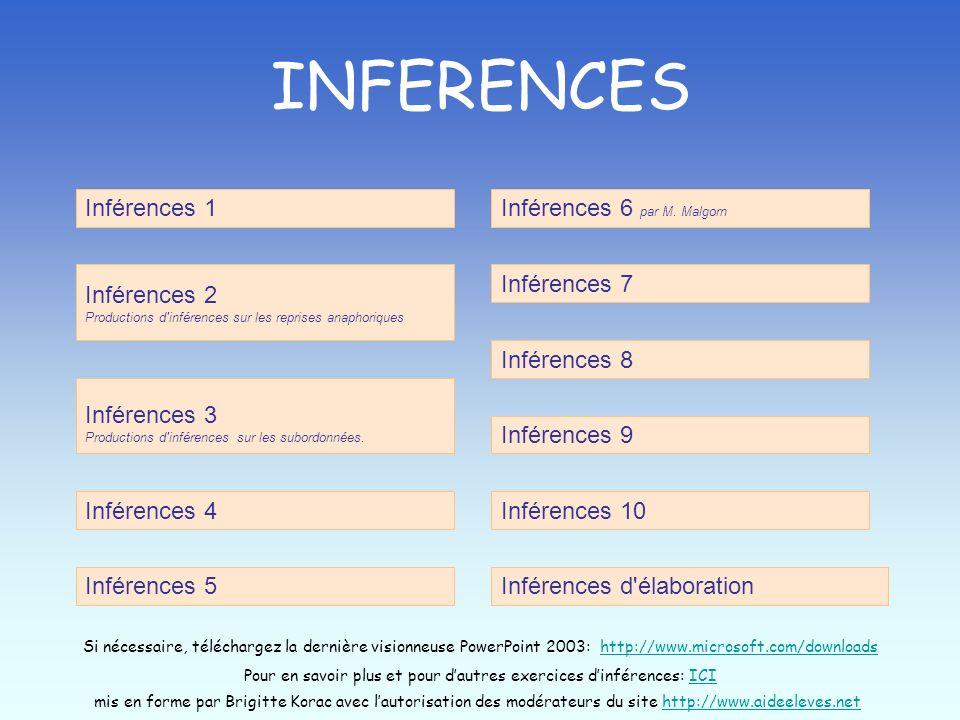 Pour en savoir plus et pour d'autres exercices d'inférences: ICI