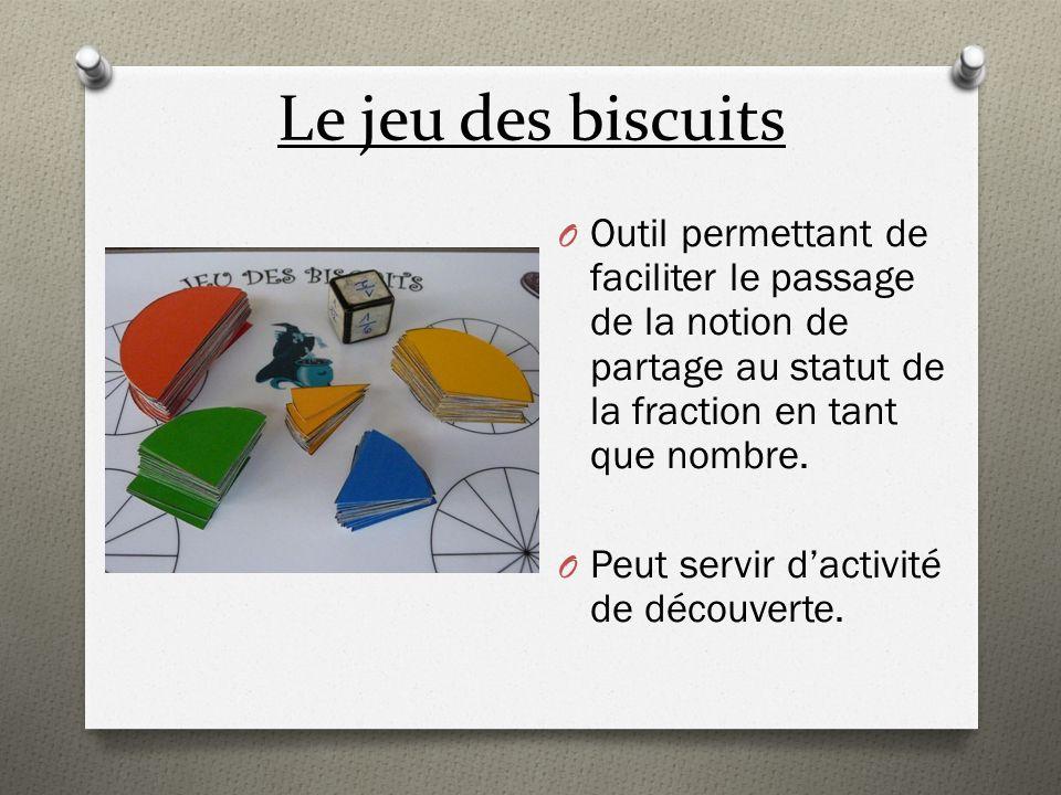 Le jeu des biscuits Outil permettant de faciliter le passage de la notion de partage au statut de la fraction en tant que nombre.