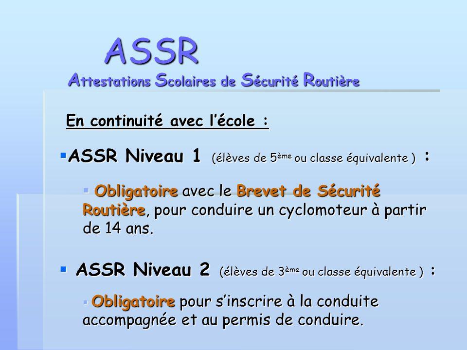 ASSR Attestations Scolaires de Sécurité Routière