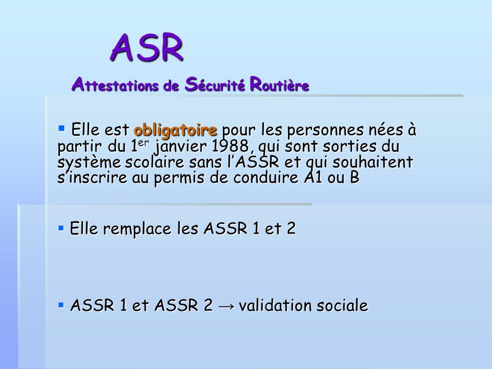 ASR Attestations de Sécurité Routière