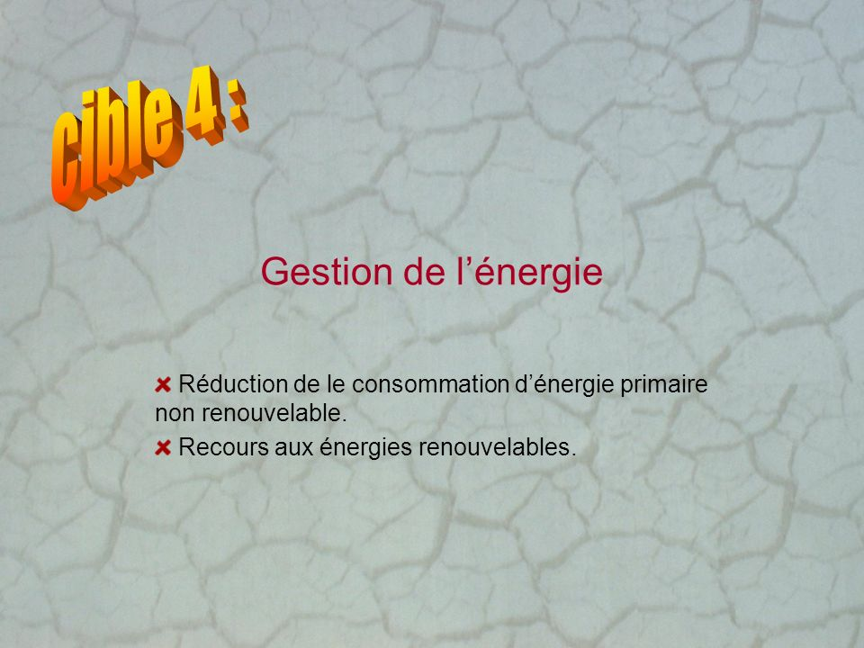 cible 4 : Gestion de l'énergie