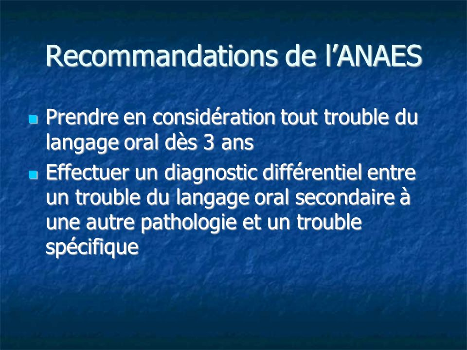 Recommandations de l'ANAES