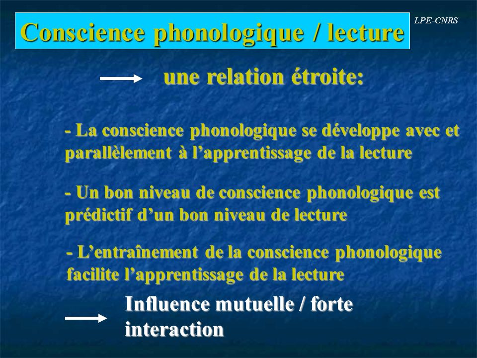 Conscience phonologique / lecture