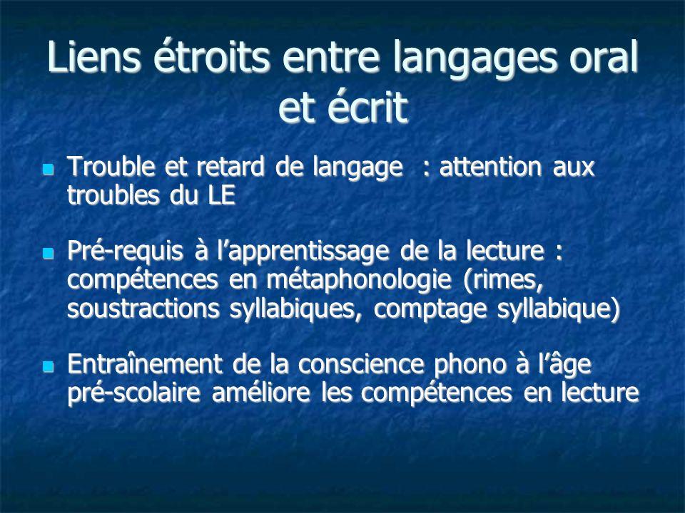 Liens étroits entre langages oral et écrit
