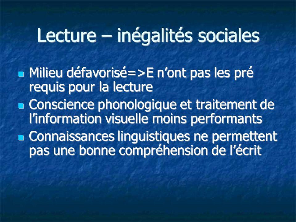Lecture – inégalités sociales
