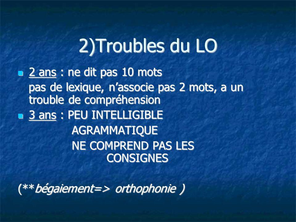 2)Troubles du LO 2 ans : ne dit pas 10 mots