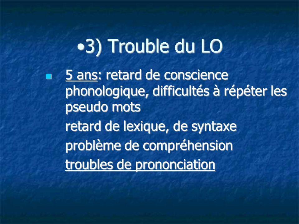 3) Trouble du LO 5 ans: retard de conscience phonologique, difficultés à répéter les pseudo mots.