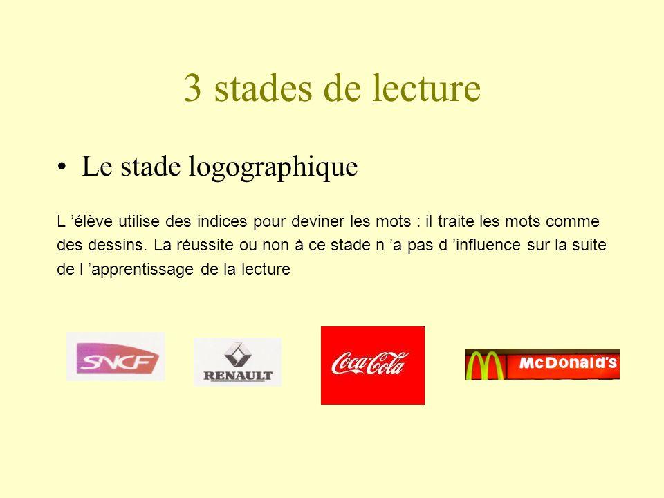 3 stades de lecture Le stade logographique