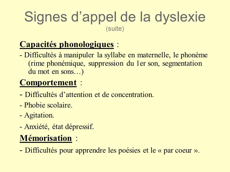 Signes d'appel de la dyslexie (suite)