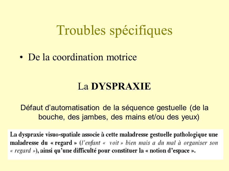 Troubles spécifiques De la coordination motrice La DYSPRAXIE