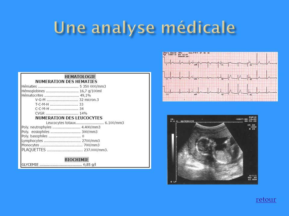 Une analyse médicale retour