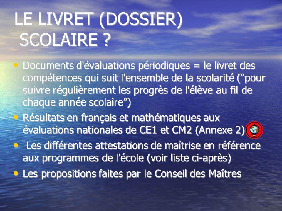 LE LIVRET (DOSSIER) SCOLAIRE