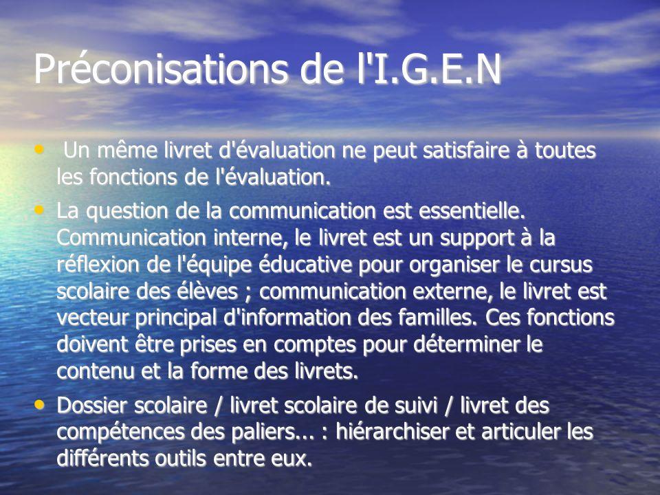 Préconisations de l I.G.E.N