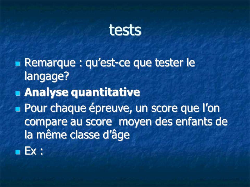 tests Remarque : qu'est-ce que tester le langage Analyse quantitative