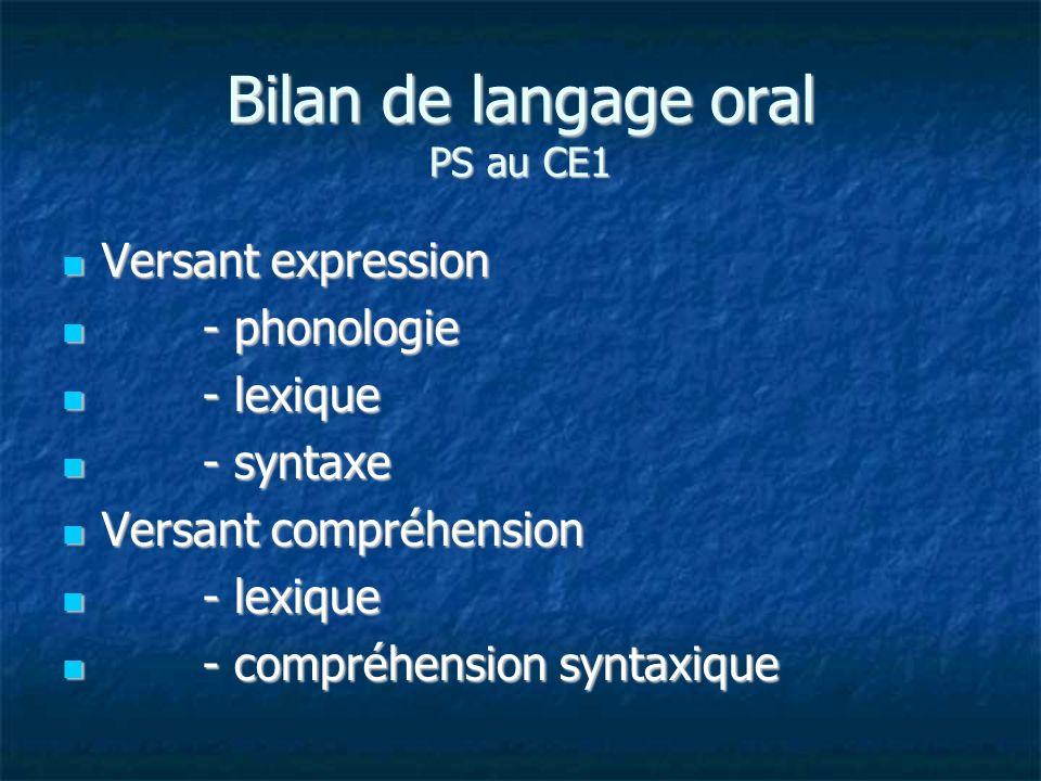 Bilan de langage oral PS au CE1