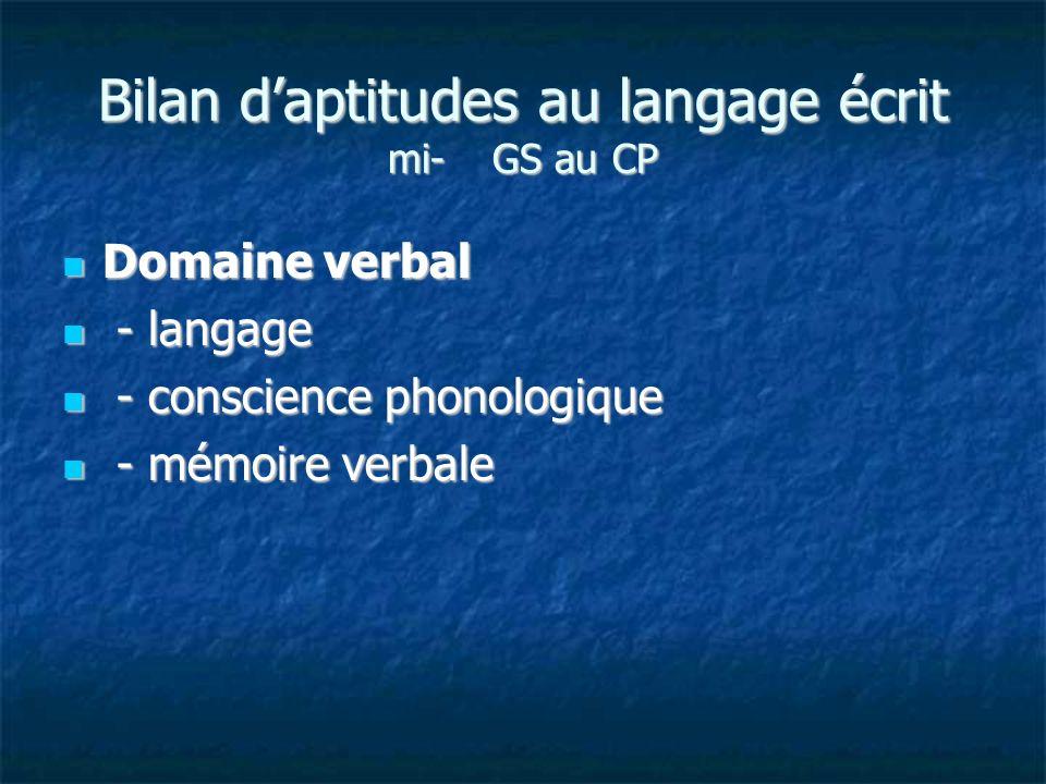 Bilan d'aptitudes au langage écrit mi- GS au CP